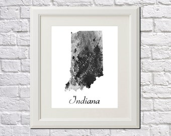 Indiana State Map Indiana Print Indiana Art Indiana State Outline Indiana Home Decor Wall Art
