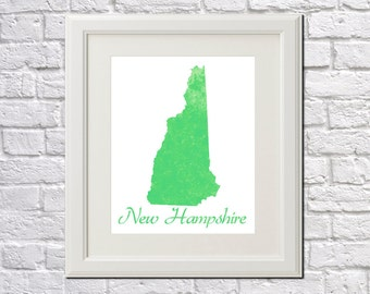 New Hampshire State Map New Hampshire Print New Hampshire Art New Hampshire State Outline New Hampshire Home Decor Wall Art