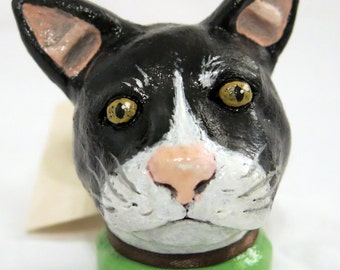 SALE! Tuxedo Cat Ceramic Sculpture