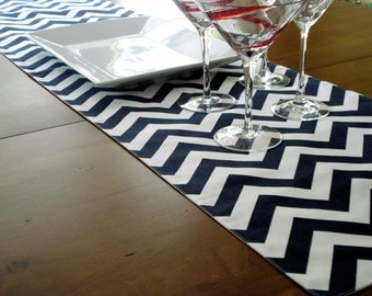 Table Runner / Dining Table / Cloth Runner / Modern Table / Fabric Runner / Navy Chevron Runner / Table Decor / Made To Order