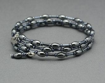 Memory Wire Bracelet,Feel Good Mood Bracelet,Hematite Memory Wire Bracelet,Metallic beaded memory wire bracelet