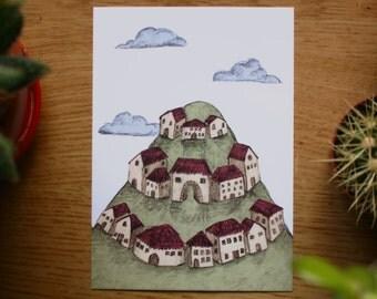 SALE // Hilltop Town Postcard