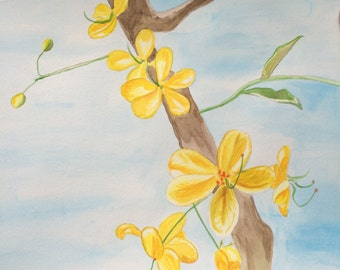 Yellow blossom painting, watercolor, original, 9x12