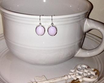 Violet opal pendant earrings