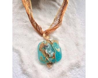 Amazonite Crystal pendant necklace-Gaia 614.