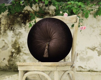 Brown velvet round pillow with tassel 16""