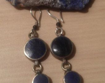 Lapis Earring-Lapis Lazuli Stone-Afghani Vintage Earring