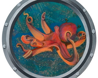 Octopus Porthole Giclee Print mounted on wood panel with Resin