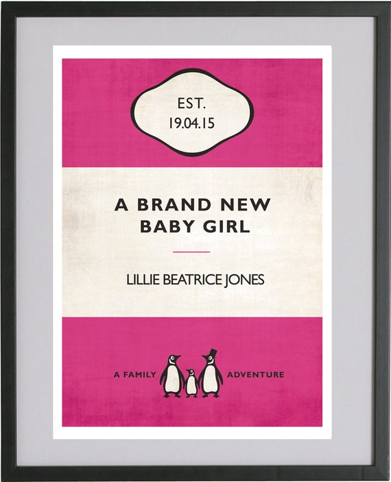 Vintage Penguin Book Cover Posters : Vintage penguin book style new baby girl personalised by