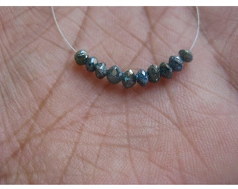 10 Beads Blue Diamonds, Faceted Diamond Beads, Conflict Free Diamonds, Approx 3mm Each