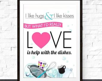 Hugs & Kisses Quote Poster Print