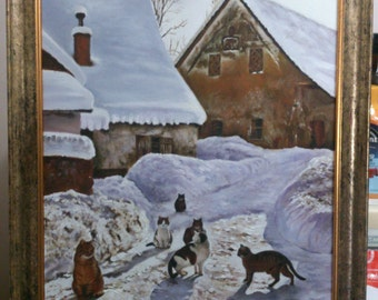 Beautiful oil painting snow and cats