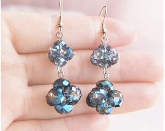 Natural handmade crafted gemstone blue mystic fire crystal earrings
