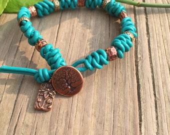 Leather Bracelet, Turqoise Leather Bracelet, Knotted Leather Bracelet, Bohemian Leather Bracelet