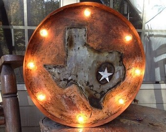 "Texas Lone Star Marquee Light - 24"" Diameter"