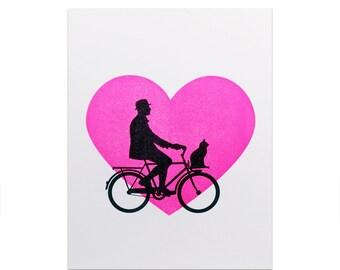 Heart Bike Letterpress Card