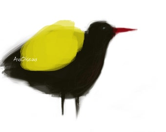 Black, yellow, red bird, original digital design, quality printing, type giclee. Frame not included.