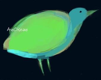 Oiseau vert d'eau, bleu, turquoise, fond noir, dessin numérique original, impression de qualité, type giclée. Cadre non-inclus.