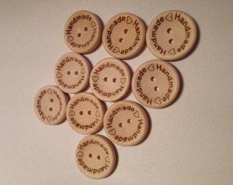 """Wooden """"Handmade"""" Buttons × 10"""