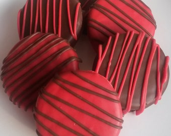 30 Red and Black Chocolate Covered Oreo Cookies - White and Milk Chocolate Flavor