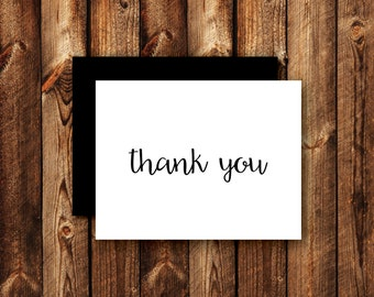 Set of Modern Contemporary Elegant Black and White Wedding Thank You Cards Folded Blank Note Card - Option 2