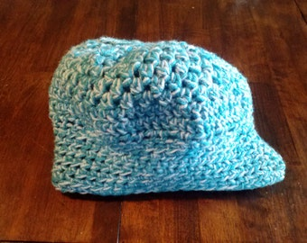 Blue and White Crochet Adult Hat