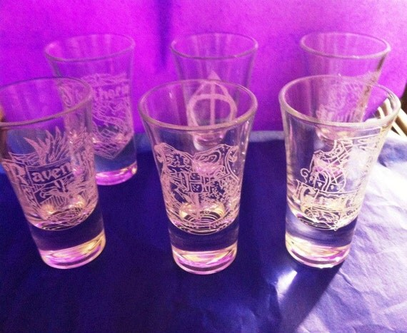 Set Of 6 Hand Engraved Shot Glasses Harry By