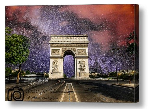 Items similar to arc de triomphe paris street milky way for Arc de triomphe wall mural