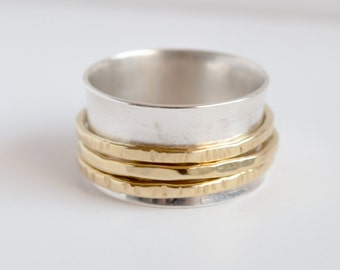 Spinner ring , band ring , simple ring , 3 bands spinner ring , women ring , spinner ring for woman , sterling silver ring