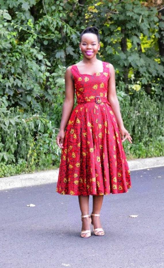 African Print Senegal Midi Dress: Items Similar To Moni African Belted Midi Dress African