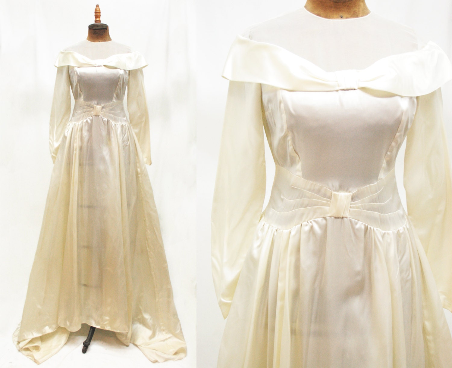 Classic Wedding Dress Satin: 1950s 50s Vintage Off-Shoulder Satin Wedding Gown Pleated