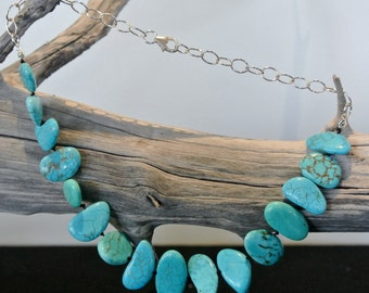 Chalk Turquoise & Sterling Silver chain Necklace