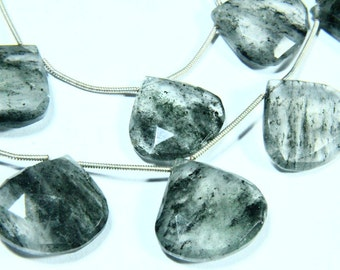 "7.50"" Full Strand Moss Quartz Gemstone Briolette, Faceted Heart Shape, Size - 17mm to 20mm, Gemstone Beads, Natural Stone"