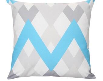 BRIXTON Blue Grey White Chevron Zig Zag Geometric Cushion Pillow Cover 45cm x 45cm