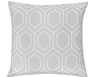 HIVE Grey White Geometric Hexagon Print Cushion Pillow Cover 45cm x 45cm