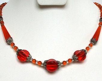 Antique Czech ART DECO glass beads necklace