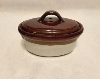 Vintage Small Pottery Dish Casserole Dip Server with Lid Rustic