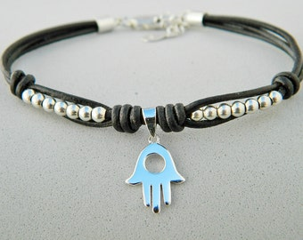 Leather and sterling silver bracelet. Good luck bracelet. Hamsa charm. Hamsa bracelet. Friendship bracelet. Leather bracelet.