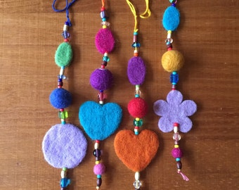 Wool Felt Ornament with Hearts, Flowers, Circle Shapes - Great Party Decoration or Favor