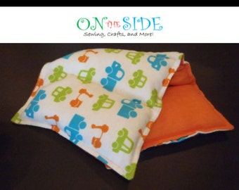 Child Size Hot & Cold Therapy Rice Pack - Cars/Trucks on Orange (flannel)
