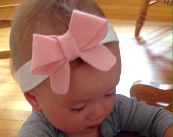Chic Felt Bow Baby Headband with Optional Embroidery Deatail