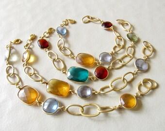 SET OF 4 BRACELETS - Delicate Matte Gold Bracelet/Multi Color Bracelet/Crystal Bracelet/Glass Bracelet/Chain Bracelet/Metal Bracelet