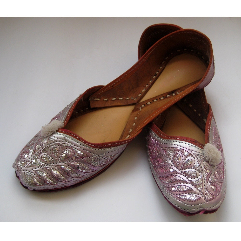 Pink Silver Bridal Ballet Flats/ Wedding Shoes/ By