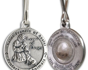 St Francis of Assisi Pet Medal for Dogs with capsule of Assisi Soil
