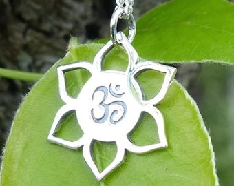 Ohm Pendant / Yoga Jewelry / Lotus Charm Necklace / 925 Pure Sterling Silver Yoga Jewellery 1194