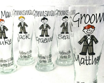 Wedding Beer Glasses Hand Painted to resemble your Wedding Party, Groomsman, Best Man, Groom or Gifts for Bridal Party Gift Boxed