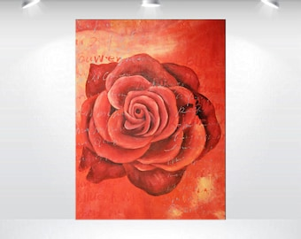 "abstract acrylic flower painting 24 x 32"" single red rose painting modern art deep textured stretched canvas art by Ettisart"