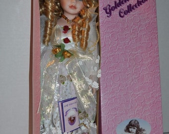 "Goldenvale Collection Porcelain 16"" Doll ""Grace"" with stand Collectible"