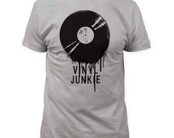 Vinyl Junkie T-Shirt Sz. S-M-L-XL 100% Cotton White Tee C@@L