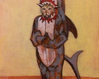 Sad Cat in Shark Costume